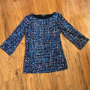 Cable & Gauge Three Quarter Sleeve Top Blouse